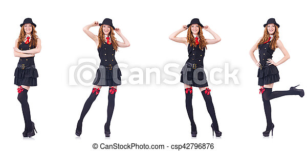 Young woman in black costume isolated on white - csp42796876