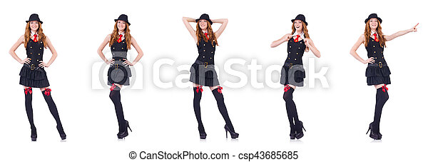 Young woman in black costume isolated on white - csp43685685