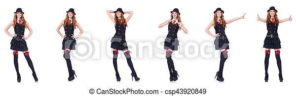 Young woman in black costume isolated on white - csp43920849