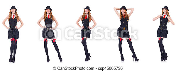 Young woman in black costume isolated on white - csp45065736