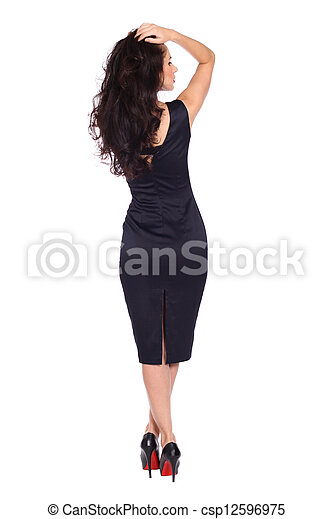 young woman in black dress - csp12596975