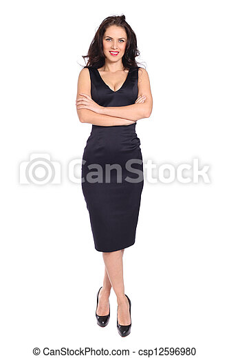 young woman in black dress - csp12596980