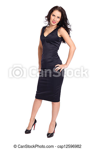 young woman in black dress - csp12596982