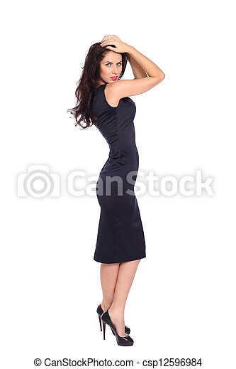 young woman in black dress - csp12596984