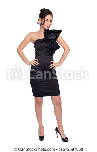 young woman in black dress - csp12597068