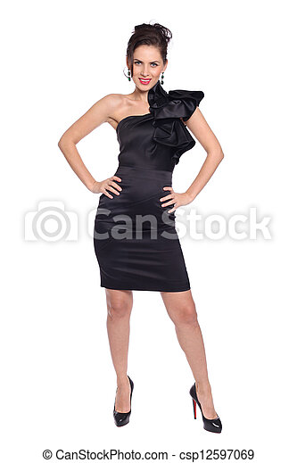 young woman in black dress - csp12597069
