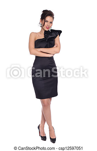 young woman in black dress - csp12597051