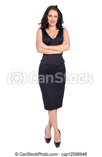 young woman in black dress - csp12596948