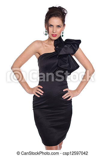 young woman in black dress - csp12597042