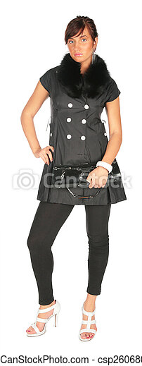 Young woman in black dress - csp2606802