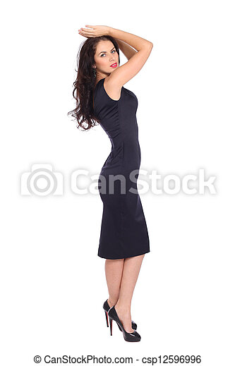 young woman in black dress - csp12596996
