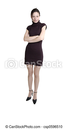 young woman in black dress - csp0596510