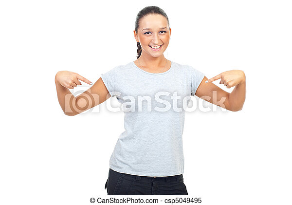 Young woman in blank gray t-shirt - csp5049495