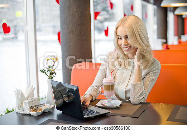 young woman in Cafe - csp30586100