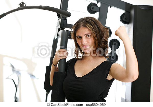 Young woman in gym - csp6504969