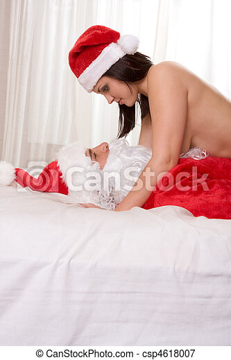 Young woman in love with Santa Claus - csp4618007