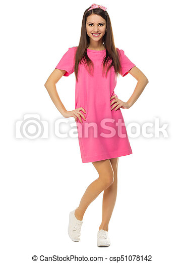 Young woman in pink dress - csp51078142