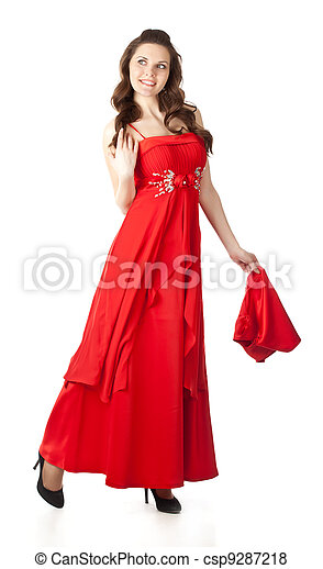Young woman in red dress with a shawl - csp9287218