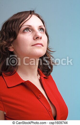 young woman in red - csp1609744