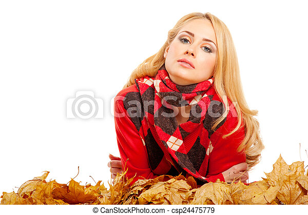Young woman in red sweater - csp24475779