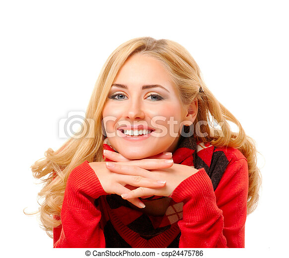 Young woman in red sweater - csp24475786