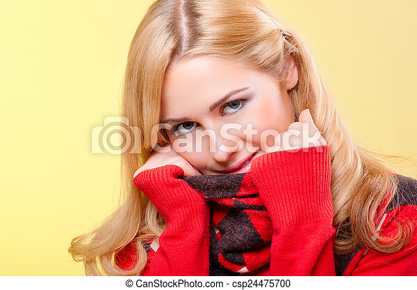 Young woman in red sweater - csp24475700