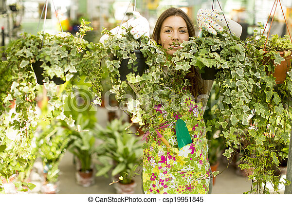 Young woman in the garden - csp19951845