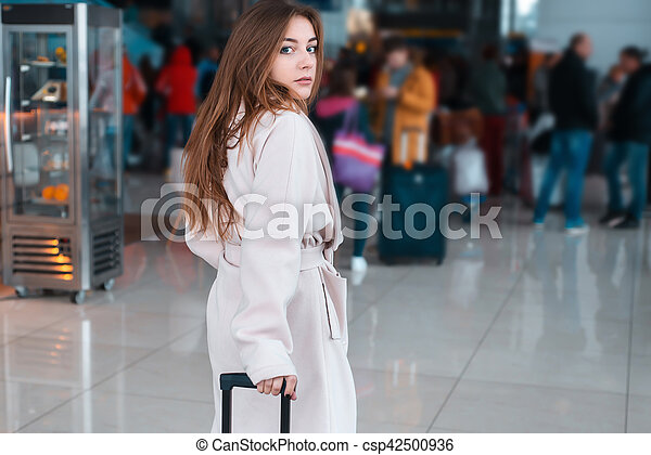 Young woman in the modern airport. - csp42500936