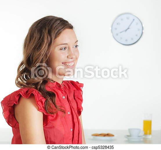 Young woman in the morning - csp5328435