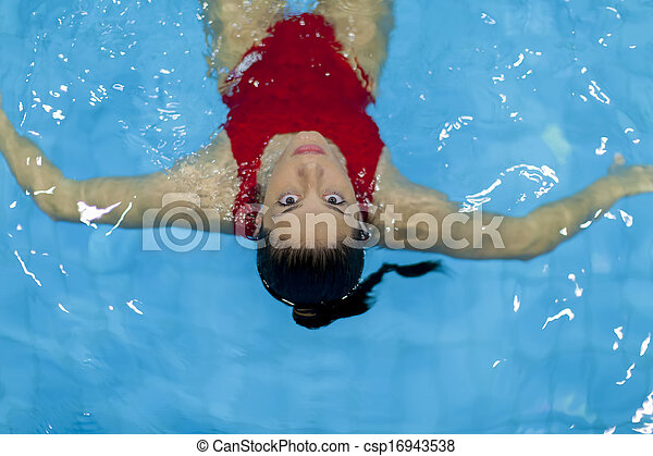 Young woman in the swimming pool - csp16943538