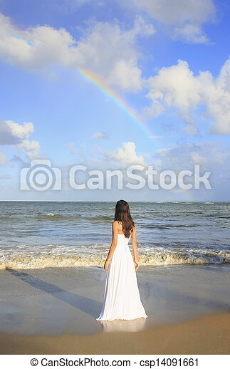 Young woman in white dress on a beach - csp14091661