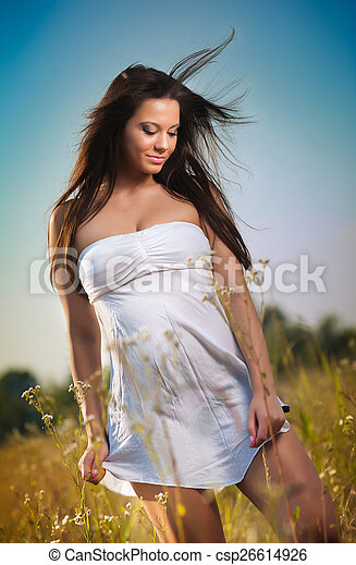 Young woman in wild field - csp26614926