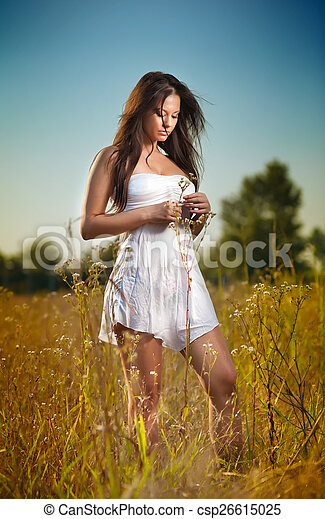 Young woman in wild field - csp26615025