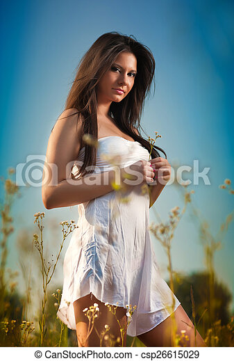 Young woman in wild field - csp26615029