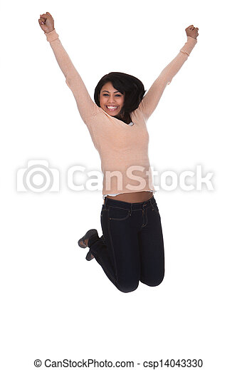 Young Woman Jumping In Joy - csp14043330