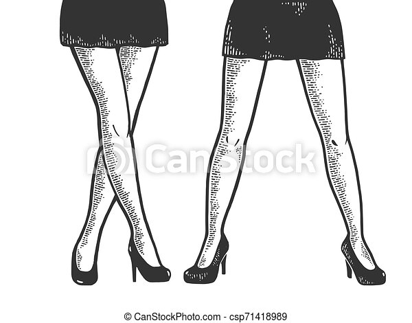Young woman legs in short sexy mini skirt sketch engraving vector illustration. Scratch board style imitation. Black and white hand drawn image. - csp71418989