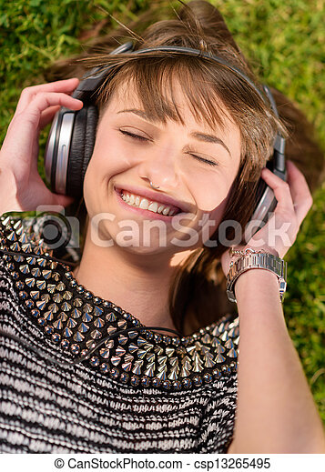 Young Woman Listening To Music - csp13265495