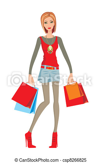 young woman makes shopping rh canstockphoto com woman shopping clipart free woman with shopping bags clipart