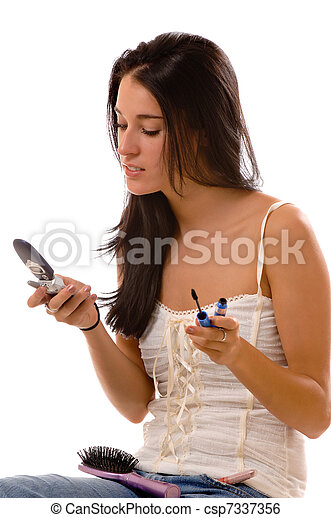 Young woman multitasking - csp7337356