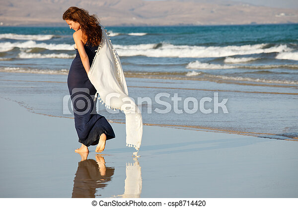 Young woman on a beach - csp8714420