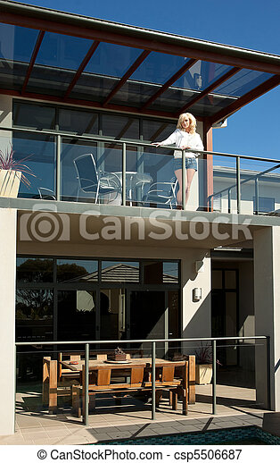 young woman on balcony - csp5506687