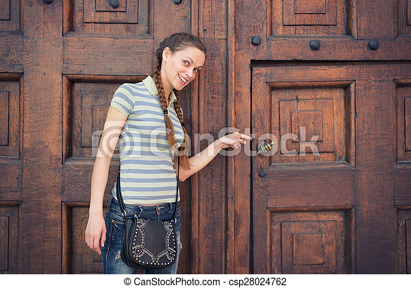 Young woman on Red Square - csp28024762
