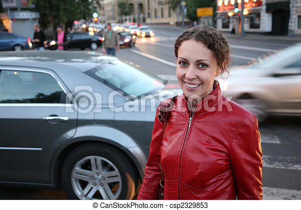 young woman on street - csp2329853