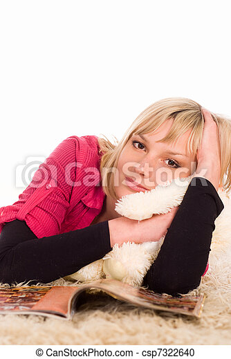 young woman on the floor - csp7322640