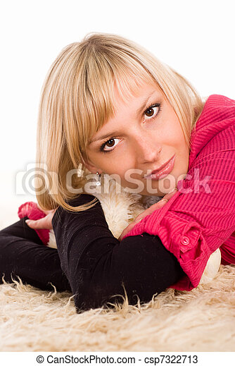 young woman on the floor - csp7322713