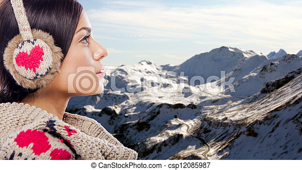 Young woman on the mountain - csp12085987