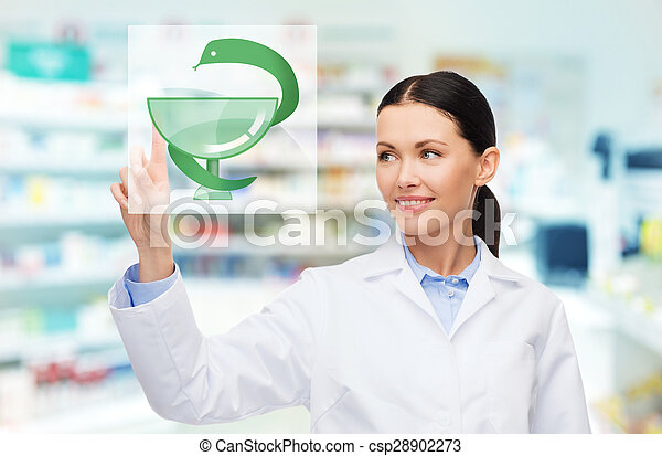 young woman pharmacist drugstore or pharmacy - csp28902273