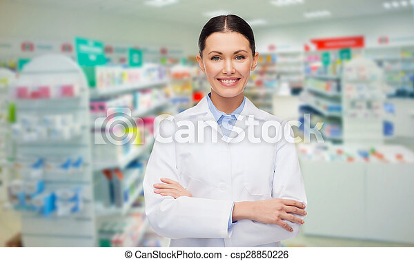 young woman pharmacist drugstore or pharmacy - csp28850226