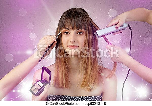 Young woman portrait with shiny pink salon concept - csp63213118