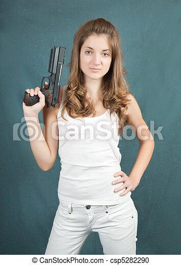 Girl teen girl with gun